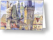 Prague Charles Bridge Greeting Card by Yuriy  Shevchuk