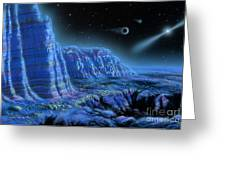 Pulsar Planets II Greeting Card by Lynette Cook