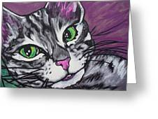 Purple Tabby Greeting Card by Sarah Crumpler