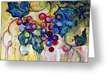 Red Water Color Grapes Greeting Card by Peggy Wilson
