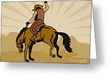 Rodeo Cowboy Bucking Bronco Greeting Card by Aloysius Patrimonio