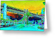 San Francisco Embarcadero And The Bay Bridge Greeting Card by Wingsdomain Art and Photography