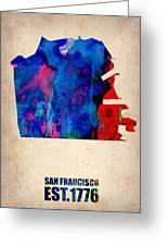 San Francisco Watercolor Map Greeting Card by Naxart Studio