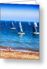 Seaside Fun Greeting Card by Mal Bray