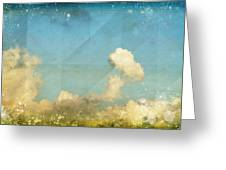 Sky And Cloud On Old Grunge Paper Greeting Card by Setsiri Silapasuwanchai