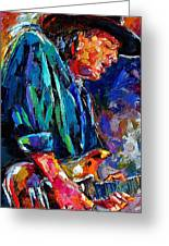 Stevie Ray Vaughan Greeting Card by Debra Hurd