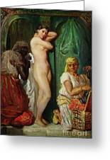The Bath In The Harem Greeting Card by Theodore Chasseriau