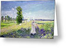 The Walk Greeting Card by Claude Monet