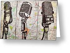 Three Microphones On Map Greeting Card by William Cauthern