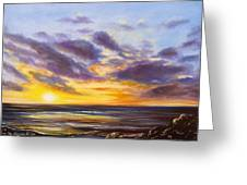 Tropical Sunset Greeting Card by Gina De Gorna