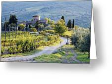 Vineyards and Farmhouse Greeting Card by Jeremy Woodhouse