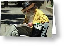 Walt Reading  Greeting Card by Robert Knight