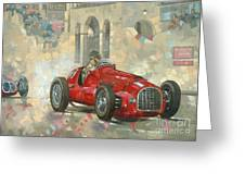 Whitehead's Ferrari Passing The Pavillion - Jersey Greeting Card by Peter Miller