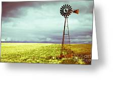 Windmill Against Autumn Sky Greeting Card by Gordon Wood