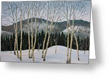 Winter Poplars Greeting Card by Richard De Wolfe
