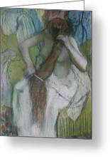 Woman Combing Her Hair Greeting Card by Edgar Degas