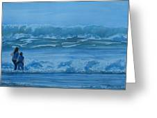 Women in the Surf Greeting Card by Jenny Armitage