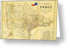 1849 Texas Map Greeting Card by Bill Cannon