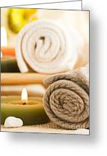 Spa Setting Greeting Card by Mythja  Photography