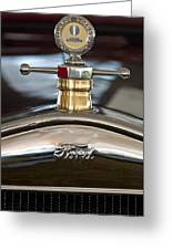1927 Ford T Roadster Hood Ornament Greeting Card by Jill Reger