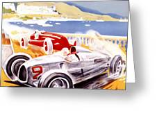 1936 F1 Monaco Grand Prix  Greeting Card by Nomad Art And  Design