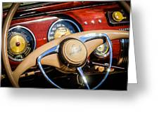 1941 Lincoln Continental Cabriolet V12 Steering Wheel Greeting Card by Jill Reger