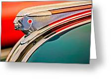 1948 Pontiac Chief Hood Ornament Greeting Card by Jill Reger
