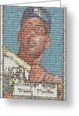 1952 Topps Mickey Mantle Rookie Card Mosaic Greeting Card by Paul Van Scott