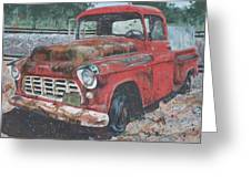 1956 Chevy Pickup Greeting Card by Les Katt