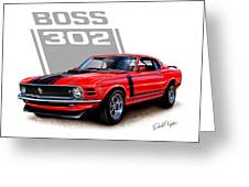 1970 Mustang Boss 302 Red Greeting Card by David Kyte