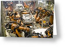 Car Factory Production Line Greeting Card by Arno Massee