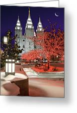 Christmas Lights At Temple Square Greeting Card by Utah Images