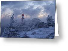 East Quoddy Lighthouse 36 Below Greeting Card by Don Dunbar