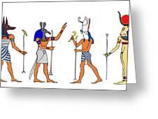 Egyptian Gods And Goddess Greeting Card by Michal Boubin