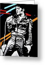 Elvis Greeting Card by Luis Ludzska