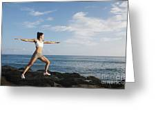 Female doing Yoga Greeting Card by Brandon Tabiolo - Printscapes