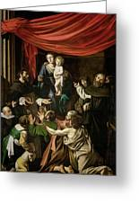 Madonna Of The Rosary Greeting Card by Caravaggio