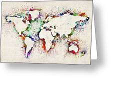 Map Of The World Paint Splashes Greeting Card by Michael Tompsett
