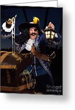 Pirate With A Treasure Chest Greeting Card by Oleksiy Maksymenko