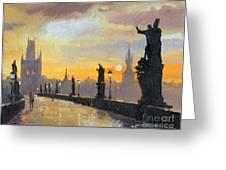Prague Charles Bridge 01 Greeting Card by Yuriy  Shevchuk