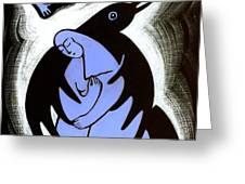 Raven Holds Me When I Weep Greeting Card by Angela Treat Lyon