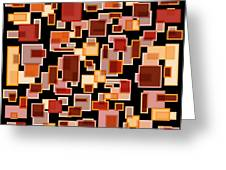 Red Abstract Rectangles Greeting Card by Frank Tschakert
