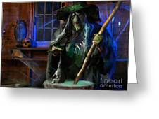 Scary Old Witch With A Cauldron Greeting Card by Oleksiy Maksymenko