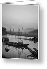sunset at Mae Khong river Greeting Card by Setsiri Silapasuwanchai