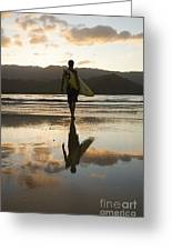 Sunset Surfer Greeting Card by Kicka Witte - Printscapes