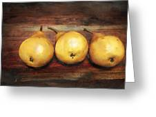 3 Pears On A Wooden Table Greeting Card by Julius Reque