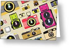 Retro Camera Pattern Greeting Card by Setsiri Silapasuwanchai