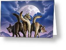 3 Wolves Mooning Greeting Card by Jerry LoFaro
