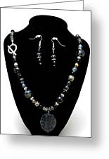 3545 Black Cracked Agate Necklace And Earring Set Greeting Card by Teresa Mucha