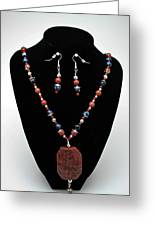 3578 Jasper And Agate Long Necklace And Earrings Set Greeting Card by Teresa Mucha